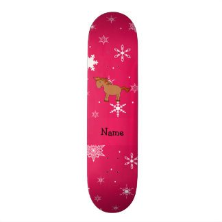 Personalized name horse pink snowflakes skate deck