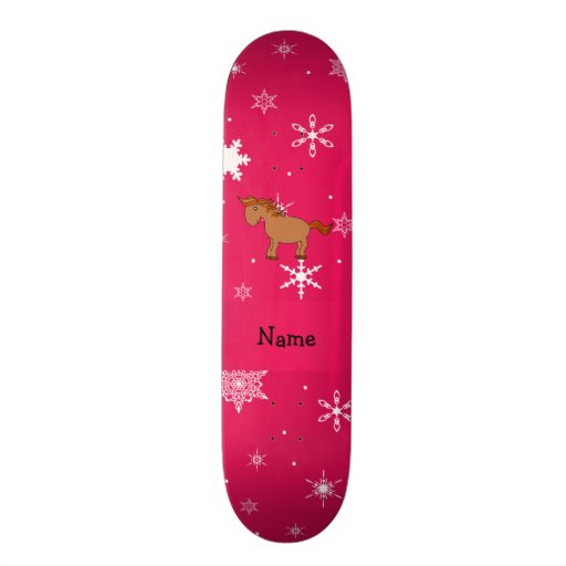 Personalized name horse pink snowflakes skate board decks