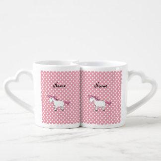 Personalized name horse pink white polka dots lovers mug