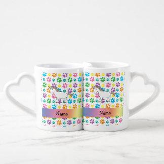 Personalized name horse rainbow paws lovers mug