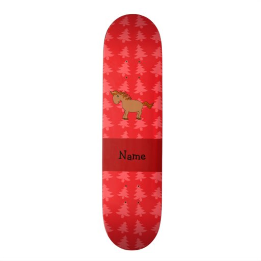 Personalized name horse red christmas trees skate board decks