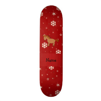Personalized name horse red snowflakes skate board deck