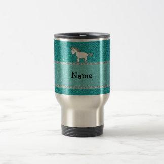 Personalized name horse turquoise glitter travel mug