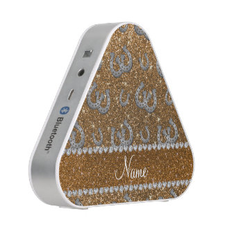 Personalized name horseshoes gold glitter bluetooth speaker