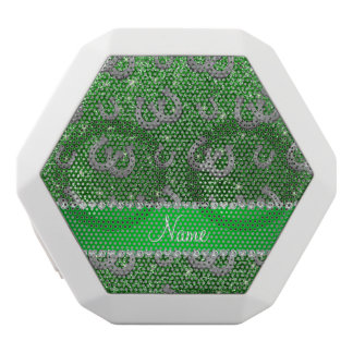 Personalized name horseshoes green glitter white boombot rex bluetooth speaker