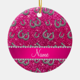 Personalized name horseshoes neon hot pink glitter christmas ornament