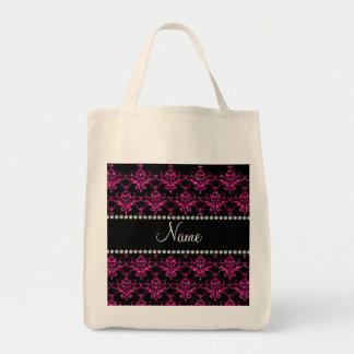 Personalized name hot pink glitter damask canvas bag