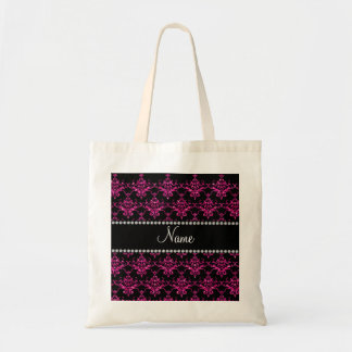 Personalized name hot pink glitter damask tote bags