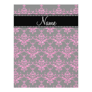 Personalized name hot pink glitter damask full color flyer
