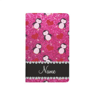 Personalized name hot pink glitter penguins hearts journal