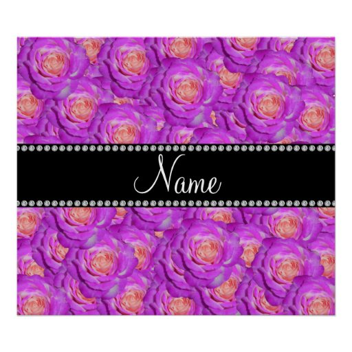 Personalized name hot pink roses poster
