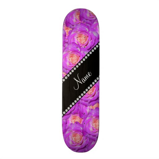 Personalized name hot pink roses skate board deck