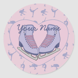 Personalized Name Ice Skating Heart Skates Classic Round Sticker