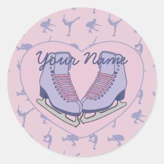 Personalized Name Ice Skating Heart Skates Round Sticker