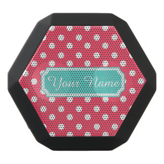 Personalized Name Indian Red Polka Dots Black Boombot Rex Bluetooth Speaker