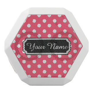 Personalized Name Indian Red Polka Dots Pattern White Boombot Rex Bluetooth Speaker