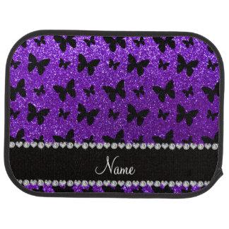 Personalized name indigo purple glitter butterfly car mat