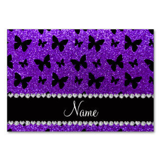 Personalized name indigo purple glitter butterfly table cards