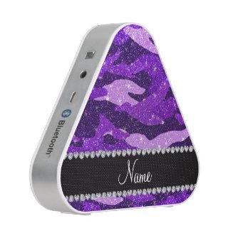 Personalized name indigo purple glitter camouflage
