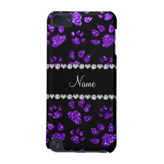 Personalized name indigo purple glitter cat paws iPod touch 5G covers