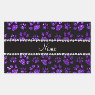 Personalized name indigo purple glitter cat paws rectangular sticker