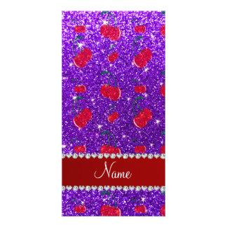 Personalized name indigo purple glitter cherries photo card template
