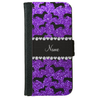 Personalized name indigo purple glitter dachshunds iPhone 6 wallet case