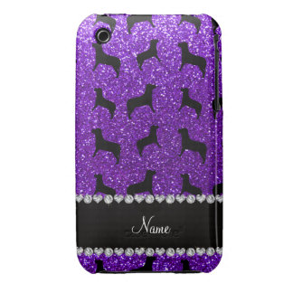 Personalized name indigo purple glitter dogs iPhone 3 covers