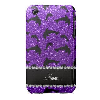 Personalized name indigo purple glitter dolphins iPhone 3 Case-Mate case