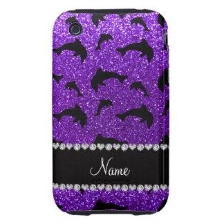 Personalized name indigo purple glitter dolphins tough iPhone 3 case