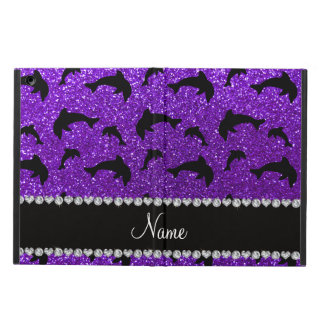 Personalized name indigo purple glitter dolphins iPad air case