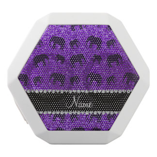 Personalized name indigo purple glitter elephants white boombot rex bluetooth speaker