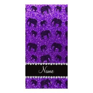Personalized name indigo purple glitter elephants photo card template