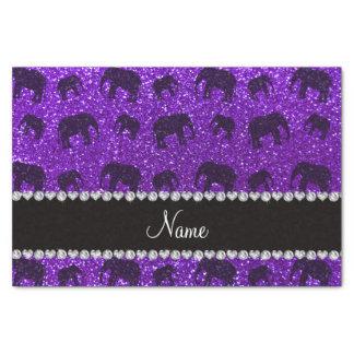 Personalized name indigo purple glitter elephants tissue paper