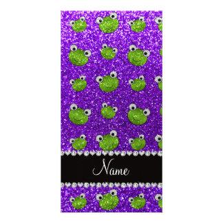 Personalized name indigo purple glitter frogs photo cards