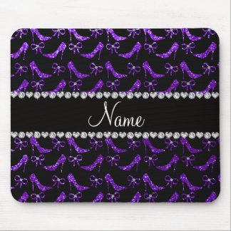 Personalized name indigo purple glitter high heels mousepads