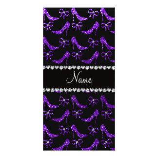 Personalized name indigo purple glitter high heels picture card