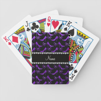 Personalized name indigo purple glitter high heels poker cards