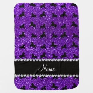 Personalized name indigo purple glitter horses baby blanket