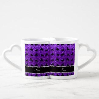 Personalized name indigo purple glitter horses lovers mug sets
