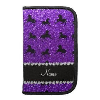 Personalized name indigo purple glitter horses folio planners