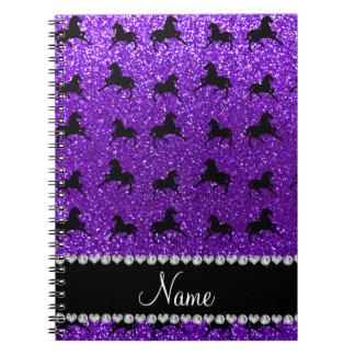 Personalized name indigo purple glitter horses spiral notebooks