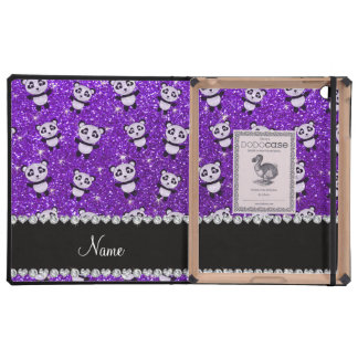 Personalized name indigo purple glitter pandas iPad case