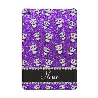 Personalized name indigo purple glitter pandas iPad mini retina covers