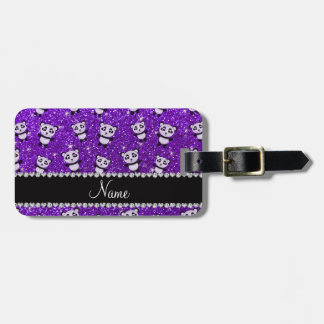 Personalized name indigo purple glitter pandas luggage tag