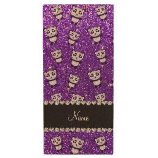 Personalized name indigo purple glitter pandas wood USB 2.0 flash drive
