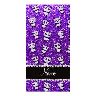 Personalized name indigo purple glitter pandas photo greeting card