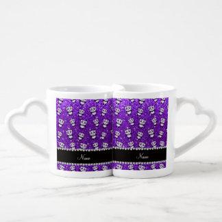 Personalized name indigo purple glitter pandas lovers mugs
