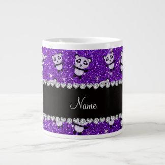 Personalized name indigo purple glitter pandas extra large mugs