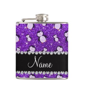 Personalized name indigo purple glitter penguins flasks